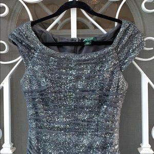 {Lauren-Ralph Lauren}Sz 6 Gray Sequin Dress